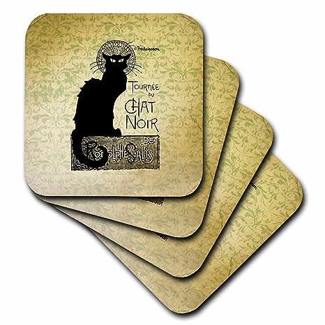 CST _ 99373 PS Vintage – Vintage Chat Noir gato negro francés arte animales – Posavasos