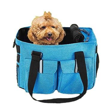 Petcomer Bolsa para Mascotas Perro Gato para Viaje Transporte Coche Cómodo Seguro Talla Mediana Pequeña Portador de Mascotas Azul