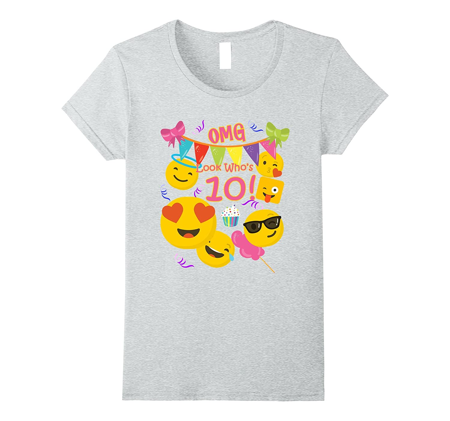 10 Year Old Girl Emoji Birthday T Shirt OMG Look Whos 10-TH