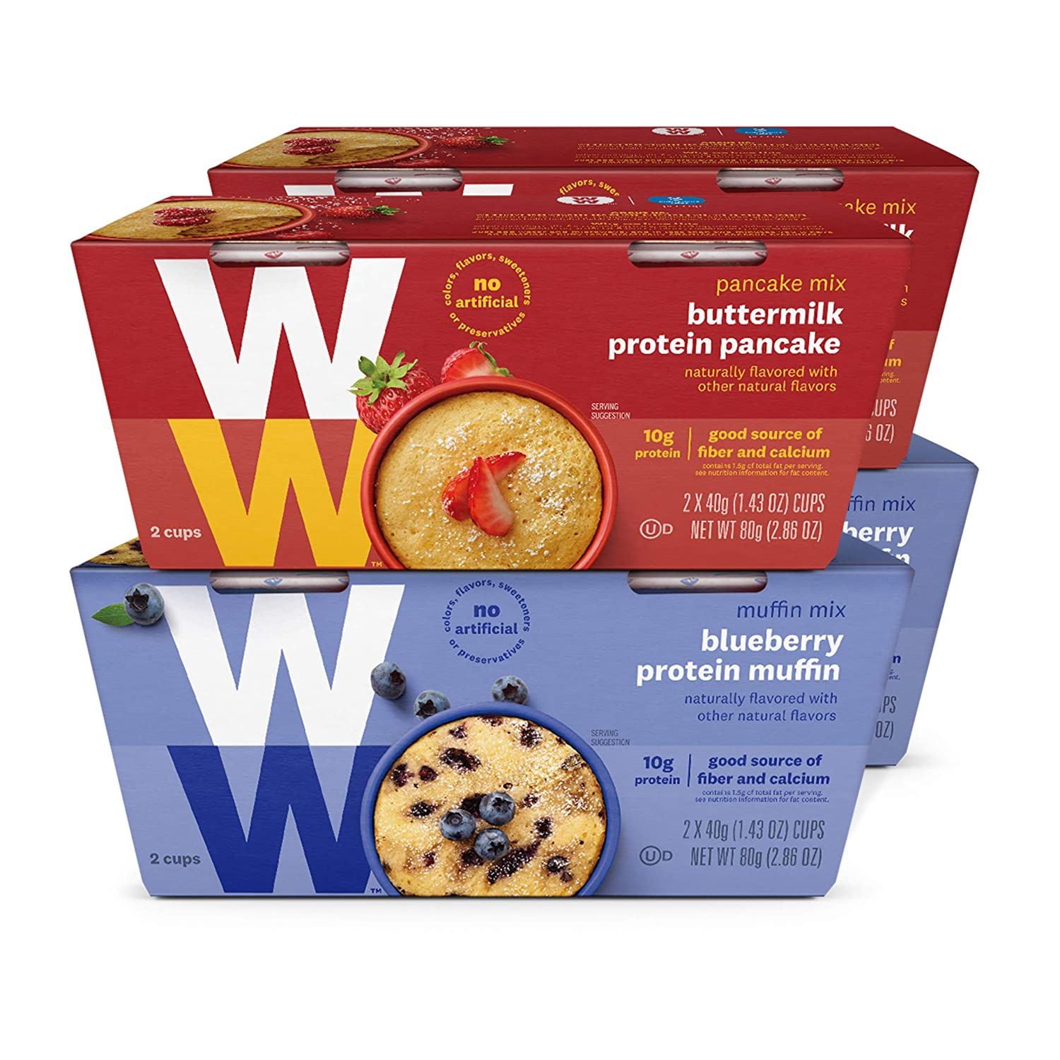 WW Breakfast Mug Cake Variety Pack - Blueberry Muffin & Buttermilk Protein Pancake - High Protein, 3 SmartPoints - 4 Boxes (8 Count Total) - Weight Watchers Reimagined