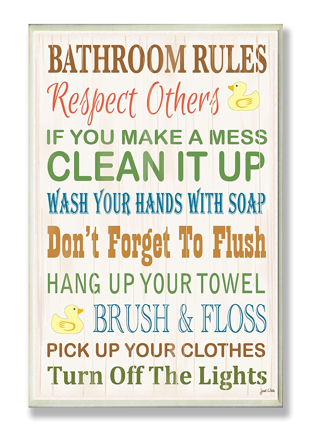 The Stupell Home Decor Collection Bathroom Rules Typography Rubber Ducky Bathroom Wall Plaque WRP-1036