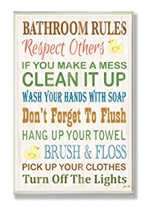 Stupell Home Décor Bathroom Rules Typography Rubber Ducky Bathroom Wall Plaque, 10 x 0.5 x 15, Proudly Made in USA