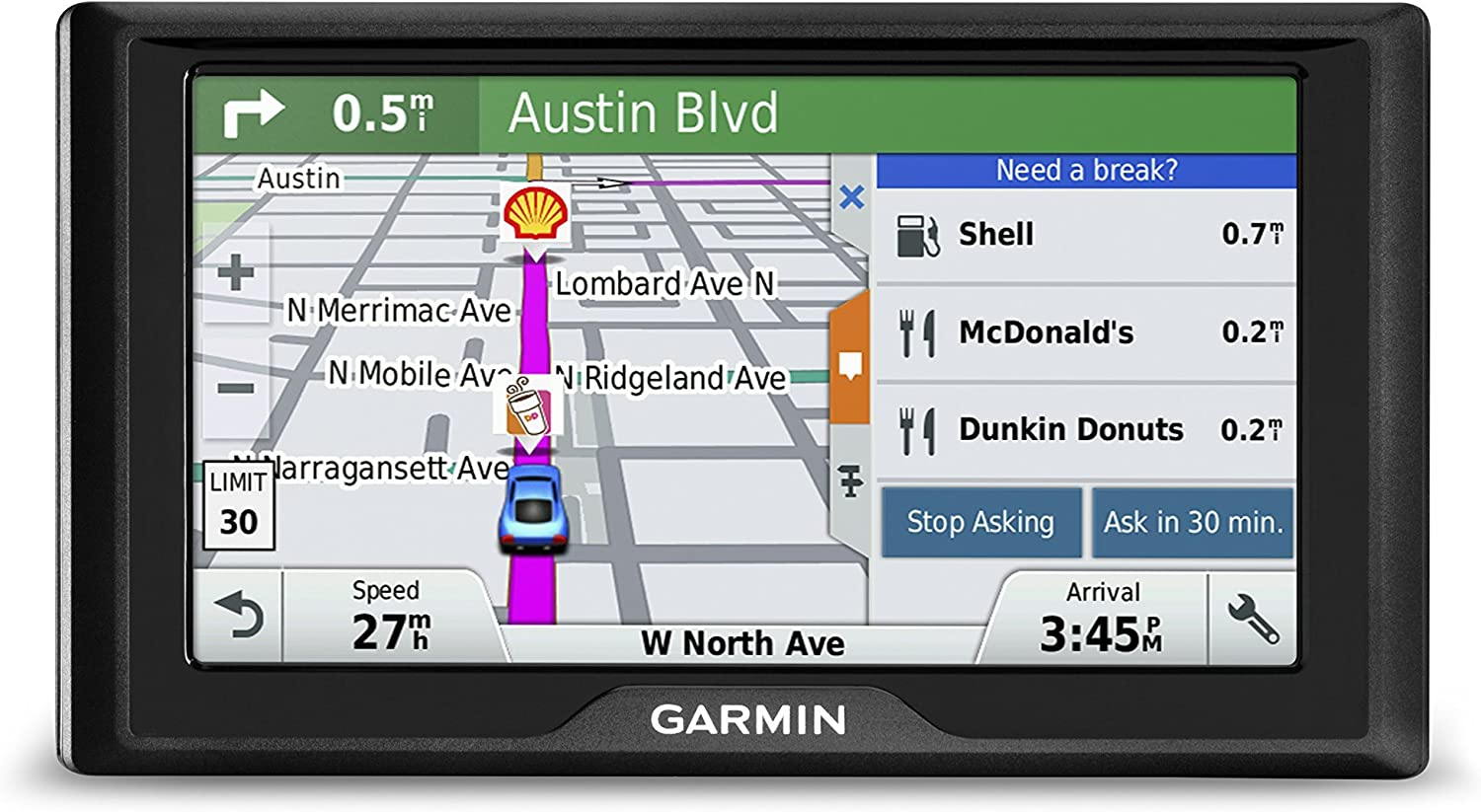 Garmin Drive 60 USA LM GPS Navigator System with Lifetime Maps, Spoken Turn-By-Turn Directions, Direct Access, Driver Alerts, and Foursquare Data Renewed