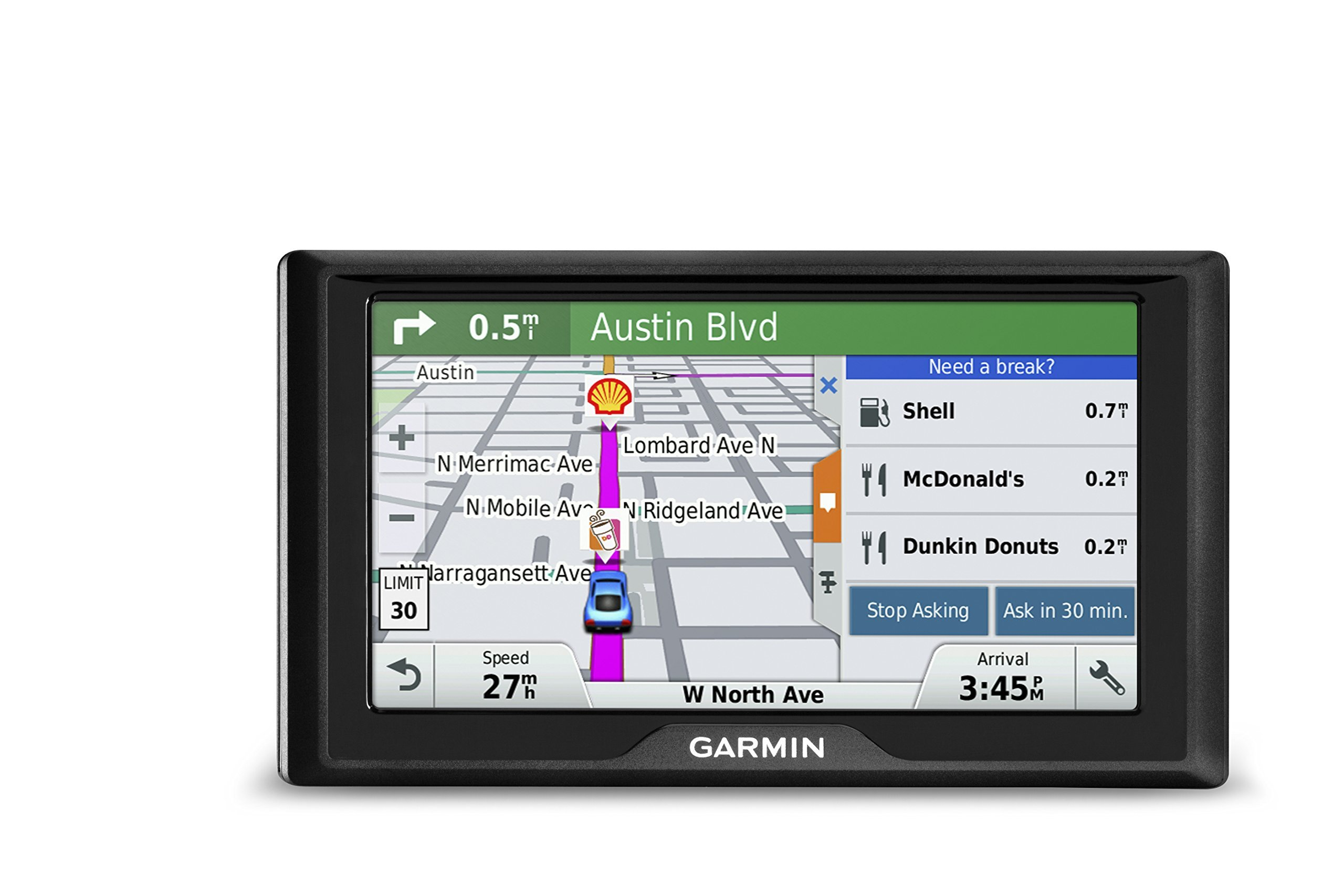 Garmin Drive 60 USA LM GPS Navigator System with Lifetime Maps, Spoken Turn-By-Turn Directions, Direct Access, Driver Alerts, and Foursquare Data (Renewed) by Garmin