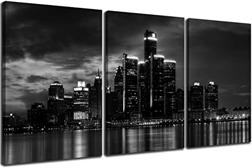 NAN Wind 3 Pcs Wall Art Beautiful Detroit Skyline Black White Canvas Art Paintings For Room Decor Cityscape Skyscrapers Night Scene Picture Prints On Canvas For Home Decor Modern Giclee Framed
