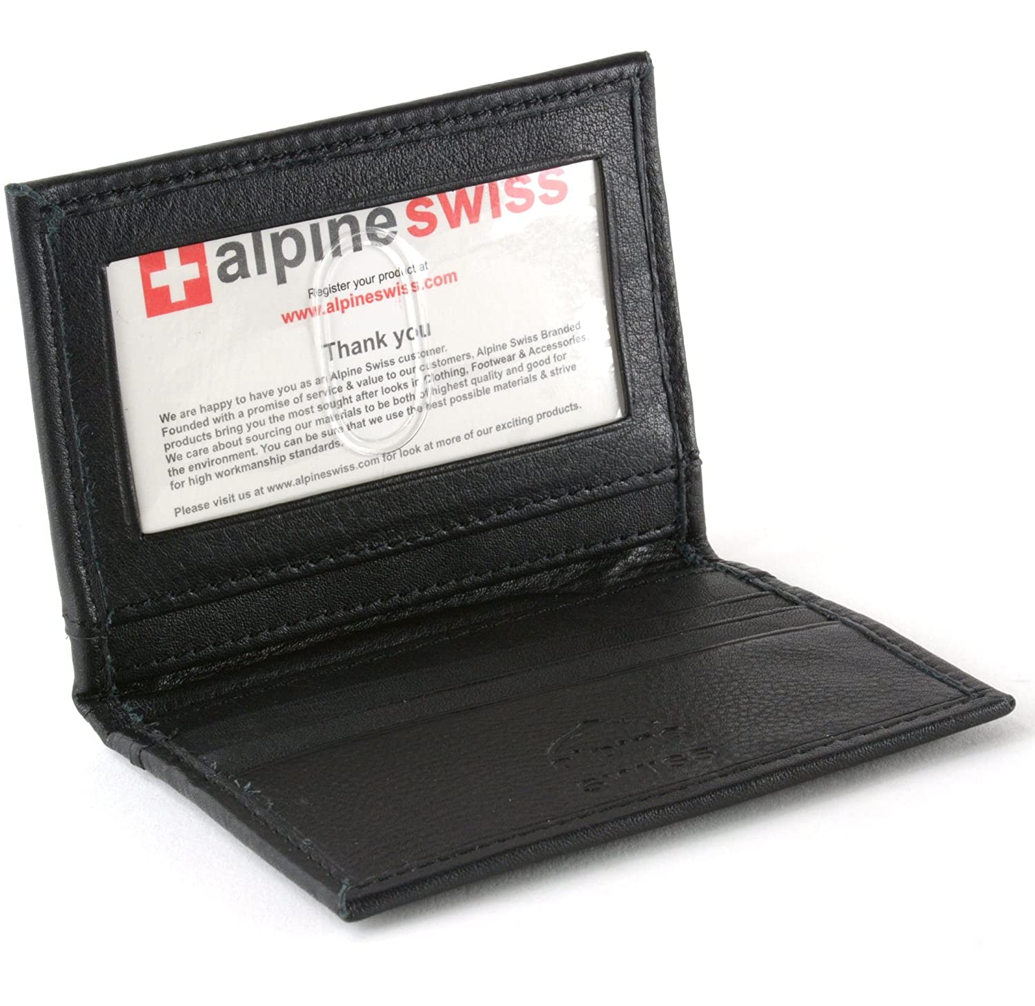 Alpine swiss thin front pocket wallet business card case 2 id window alpine swiss thin front pocket wallet business card case 2 id window 6 card slot black at amazon mens clothing store colourmoves Images