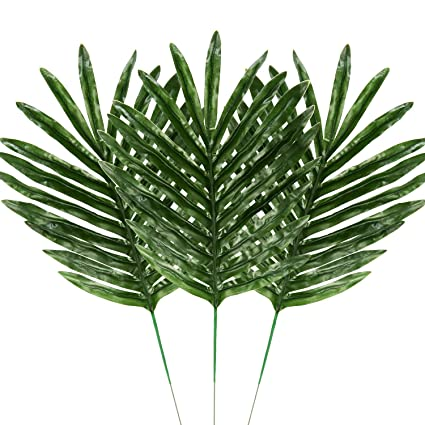 amazon com hicarer 30 pieces palm leaves fake tropical leaf