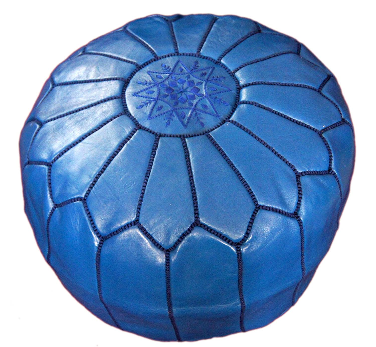Moroccan Hand Made Pouf Leather Luxury Ottomans Footstools Cover High Quality Satifaction Guarranteed Treasures Of Morocco Large Pouf Blue