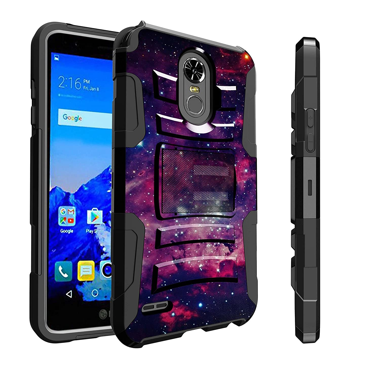 Untouchble Case for LG Stylo 3 Case, LG Stylo 3 Plus Case [Heavy Duty Clip] Combat Shockproof Two Layer Belt Clip Kickstand Cover Protector Rugged - Purple Galaxy
