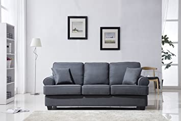 living room furniture amazon. Classic Plush Fabric Sofa  Living Room Furniture Dark Grey Amazon com