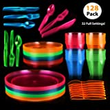 128 Piece Neon Party Supplies Set - Disposable & Heavy Duty Includes: 32 Main Course 9 inch Plate 6 inch Dessert Plates 9-ounce Tumblers Cutlery Glow in the Dark Great for Blacklight UV Parties