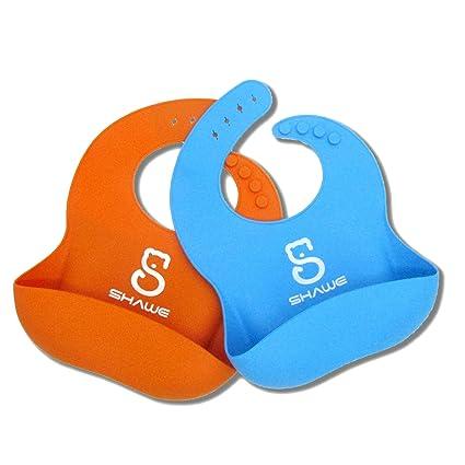 Impermeable Babero por shawe, Premium suave silicona (Comfotable), fácil limpieza y secado