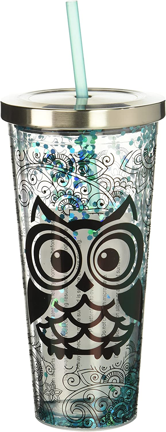 Spoontiques 21310 Blue Owl Glitter Cup With Straw, 20 ounces, Turquoise