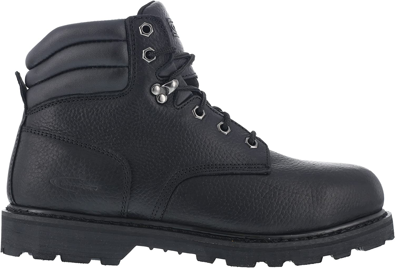 Knapp Mens Black Leather 6in Work 10 W Toe Boots Max 83% OFF Super intense SALE Backhoe Steel