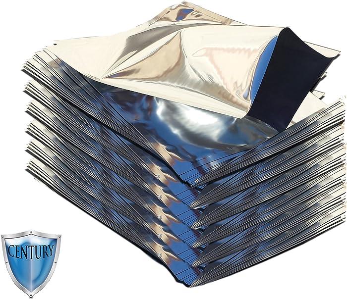 Quart 5 Mil Premium Century Mylar Bags with PackFreshUSA LTFS Guide (100)