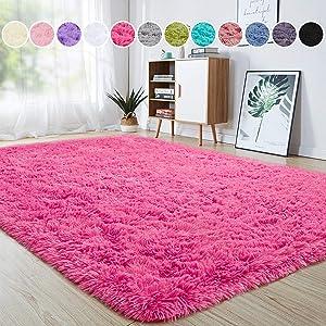 junovo Ultra Soft Area Rugs 4 x 5.3ft Fluffy Carpets for Bedroom Kids Girls Boys Baby Living Room Shaggy Floor Nursery Rug Home Decor Mats, Hot-Pink