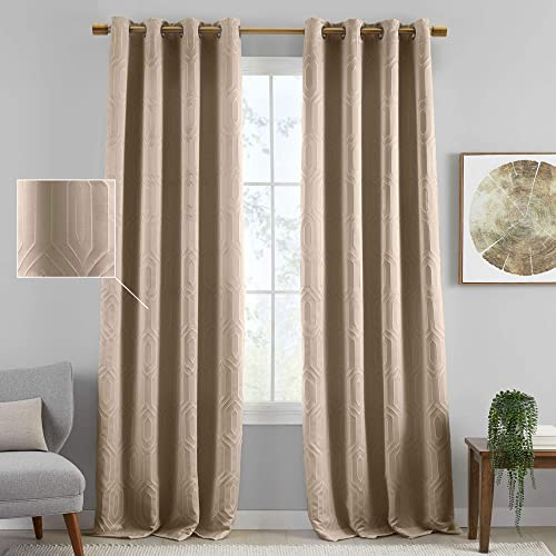 Elrene Home Fashions Sunveil Huxley Embroidered Textured Modern Geometric Blackout Thermal Grommet Top Window Curtain Panel