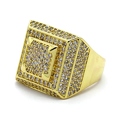 Men HQ 14K Gold Plated Iced Out Square 3D Dome Middle Hip Hop Ring Sizes 7 c7e3bb8c26d8