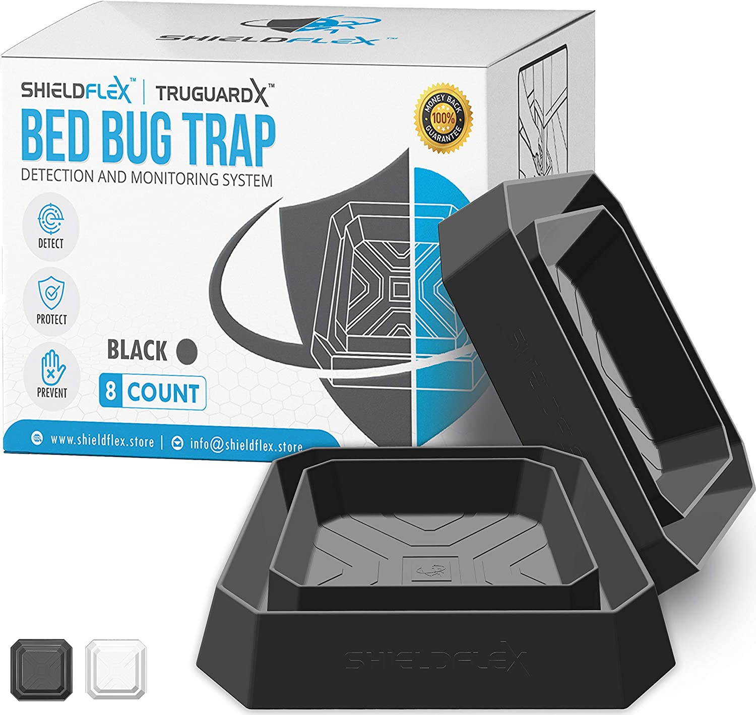 Bed Bug Trap — 8 Pack | TruGuard X Bed Bug Interceptors (Black) | Eco Friendly Bed Bug Traps for Bed Legs | Reliable Insect Detector, Interceptor, and Monitor for Pest Control and Treatment