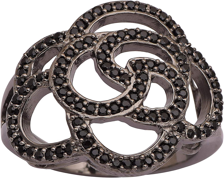 Shine Jewel Espinela de Plata de Ley 925 con Piedras Preciosas Anillo de rodio Negro (J)