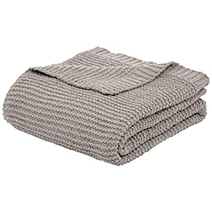 AmazonBasics Knitted Chenille Throw Blanket - 50 x 60 Inches, Light Grey