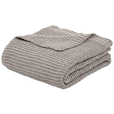 AmazonBasics Knitted Chenille Throw Blanket - 66 x 90 Inches, Light Grey