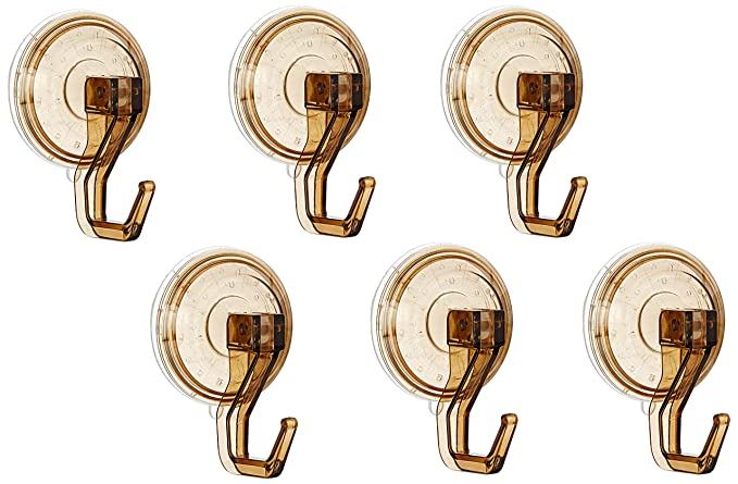 Amazon Brand - Solimo Suction Wall/Tile/Door Hooks (Set of 6, Small)