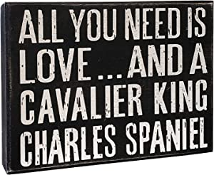 JennyGems - All You Need is Love and a Cavalier King Charles Spaniel - Wooden Sign, Cavalier King Charles Spaniel Moms, Lovers, Dogs, Accessories, Gifts, Shelf Knick Knacks