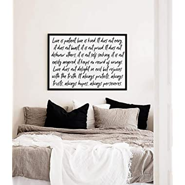 SpecsDecorCo Love Is Patient Love Is Kind Wall Art/Home Decor/Farmhouse Wall Decor/Wedding Gift Art / 1 Corinthians 13:4-8 Prayer Unframed Artwork (20 x 16 Inches)