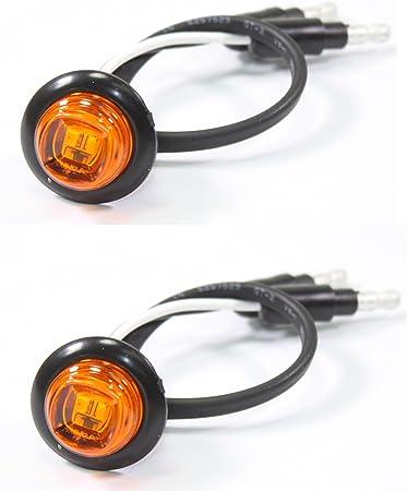 """2 3//4/"""" Bullet Amber Round LED Light with Chrome Bezel Side Marker Truck Trailer"""