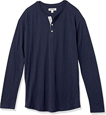 Marca Amazon - Goodthreads – Camiseta estilo Henley de algodón flameado de manga larga, ligera para hombre: Amazon.es: Ropa y accesorios