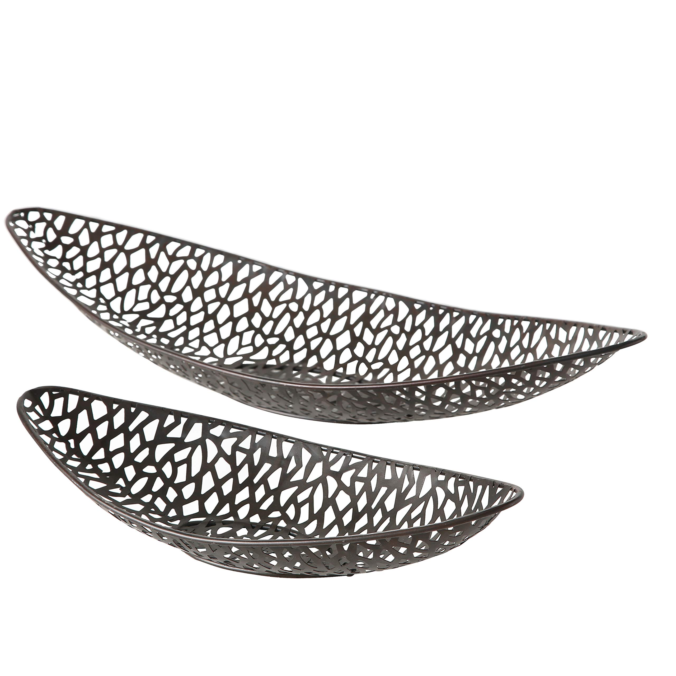 WHW Whole House Worlds Key West Banana Boat Decorative Bowls, Set of 2, Artisinal Design, Made by Hand, Open Metal Work, Rustic Bronze, Iron, 20 1/2 and 14 1/4 Inches Long by WHW Whole House Worlds