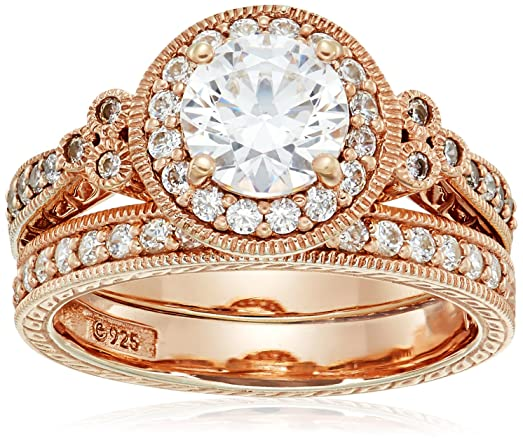 39f06fece Rose Gold-Plated Sterling Silver Swarovski Zirconia Round Antique Style Ring,  Size 6