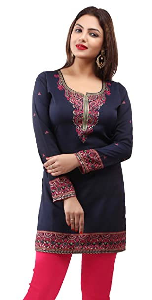 18854ce1a1 Indian Tunic Top Womens Kurti Printed Blouse India Clothes: Amazon.ca:  Clothing & Accessories
