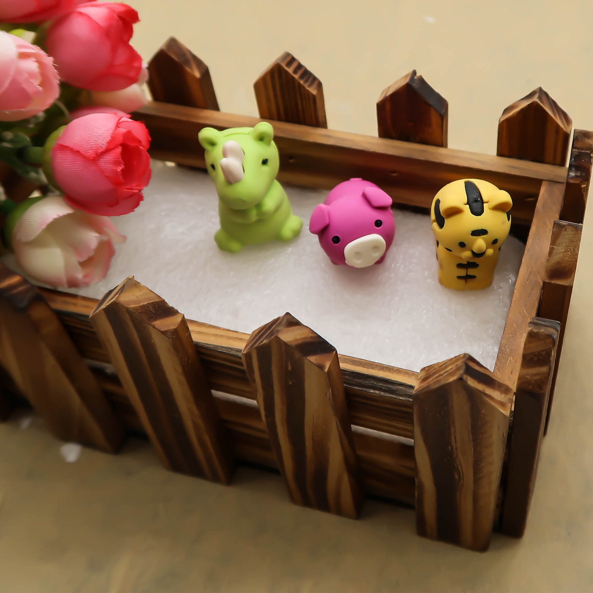 TOAOB 28pcs Adorable Puzzle Animals Erasers Non-Toxic for Kids Fun Games and Collection with Plastic Box by TOAOB (Image #5)