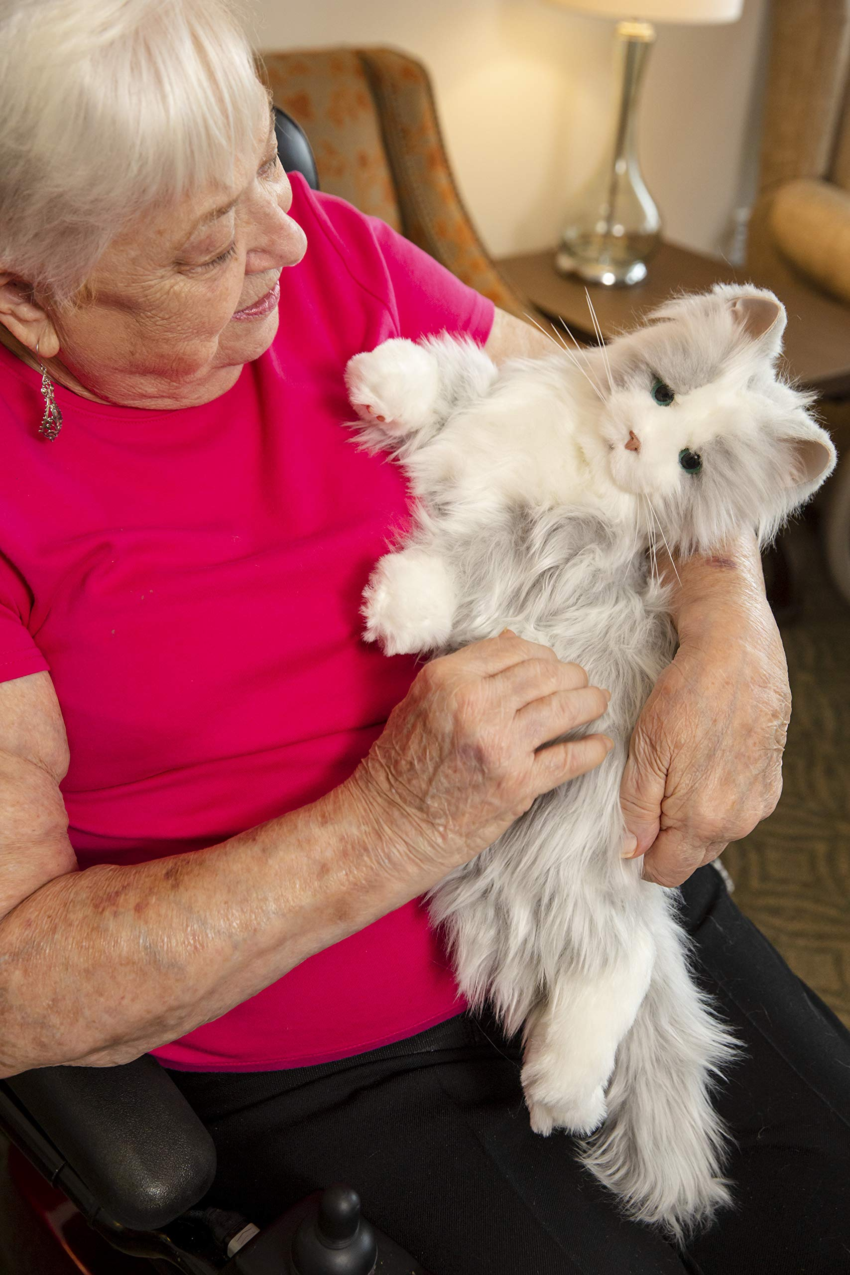 Joy for All Robotic Reclining Silver Grey Cat - for Ages 2 to 102 by Memorable Pets (Image #3)