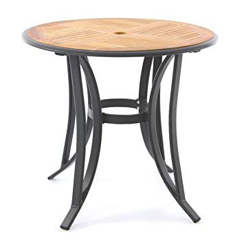 Table de jardin en teck - Ronde de table Armature en aluminium ...