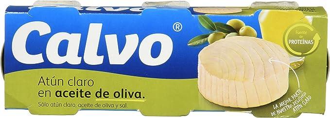 Calvo - Atun Claro en aceite de oliva - 3 x 80 g - [pack de 2 ...