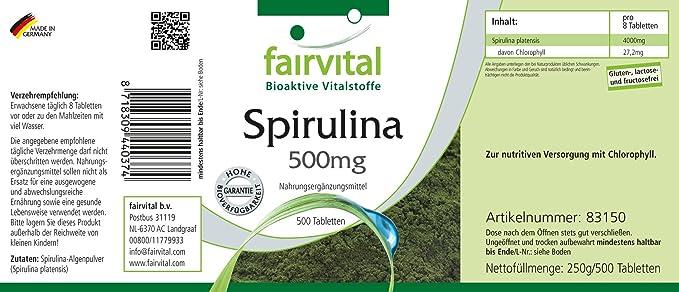 Espirulina comprimidos 500mg - VEGANO - Altamente dosificado ...