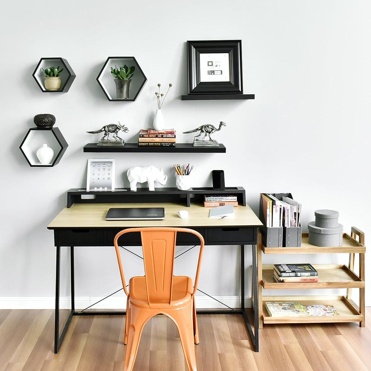 WELLAND Simons Floating Wall Shelf Ledge Shelves, 36-Inch, Black