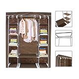Brown Canvas Fabric Wardrobe Clothes Storage Organiser - 134 x 43 x 172 cm(52.8 x 17 x 68 inch) 3 doors wardrobe with Hanging Rail and zip closure