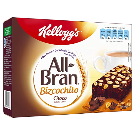 Kelloggs Barritas All Bran Bizcochito Chocolate - 2 Paquetes de 6 barritas - Total: 480 gr: Amazon.es: Alimentación y bebidas