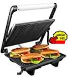 "Aicok Panini Press Grill Gourmet Sandwich Maker, 11.6"" x 10.4"" Nonstick Plates, Cafe-Style Floating Lid, Removable Drip Tray, 1200W, Silver"