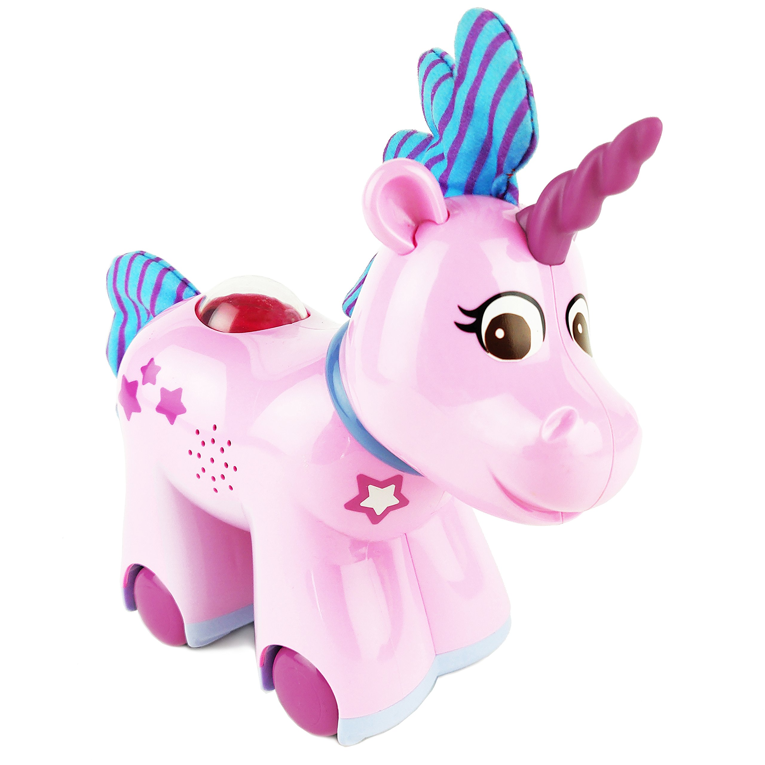 Boley Toys Walking Unicorn Animal Princess Friend - Pink Unicorn Horse with Rotating Head - Children's Battery Powered Rolling Action Toy - with Music and Sounds