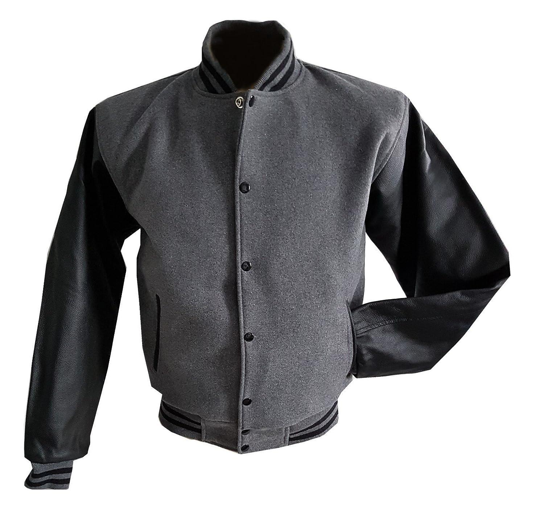 Windhound Original College Jacke grau grau grau mit schwarzen Echtleder Ärmel S B079WMFY67 Herren Am praktischsten d5065b