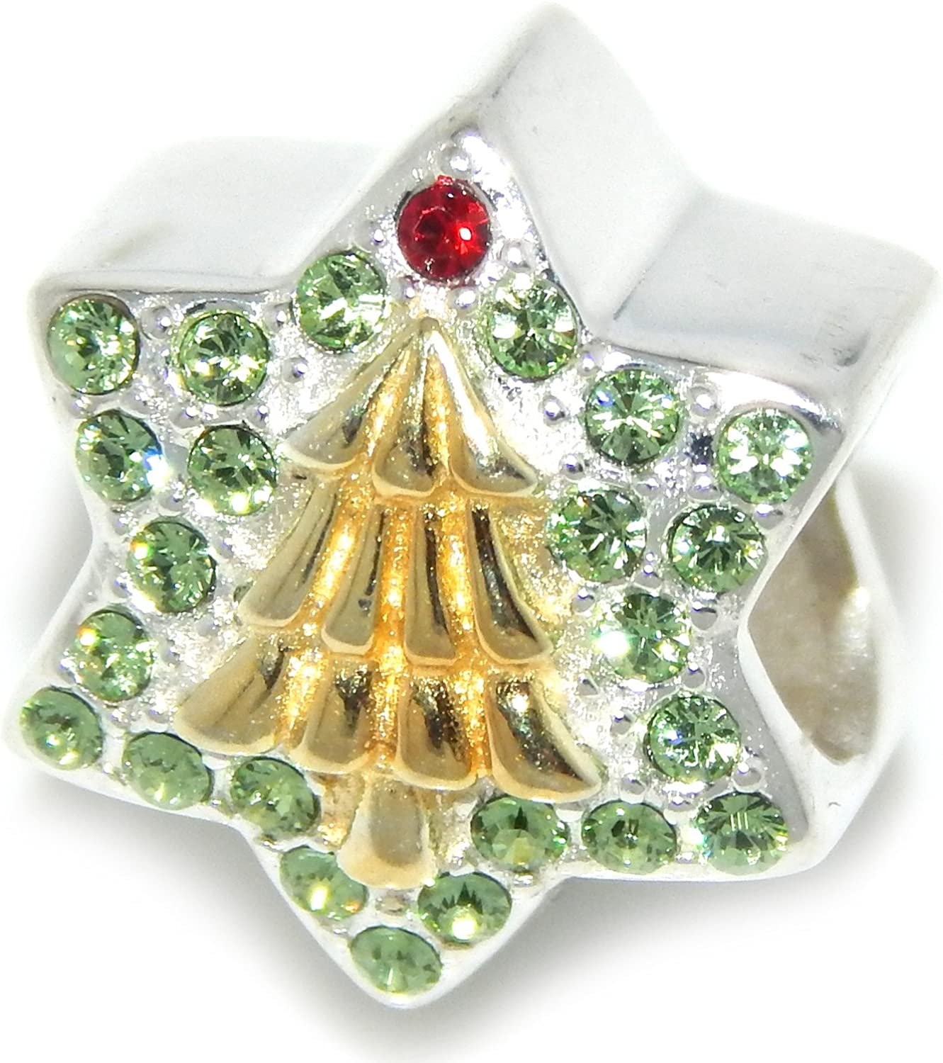 Solid 925 Sterling Silver Green Crystal Star with Gold Tone Christmas Tree Christmas Charm Bead for European Snake Chain Bracelets