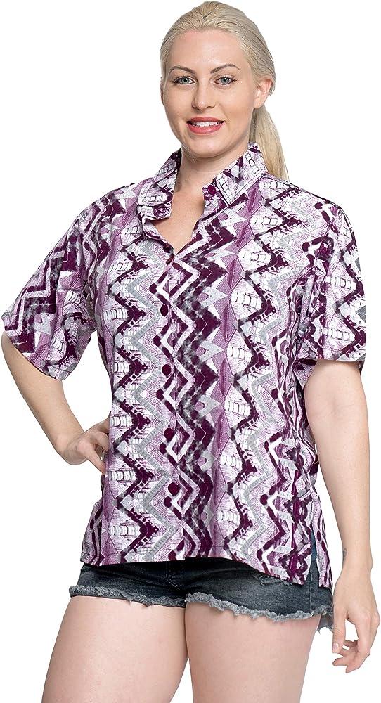 botón de la Camisa Hawaiana Blusas de Las Mujeres relajadas Abajo Corta Campo de Mangas Violeta XL: Amazon.es: Ropa y accesorios