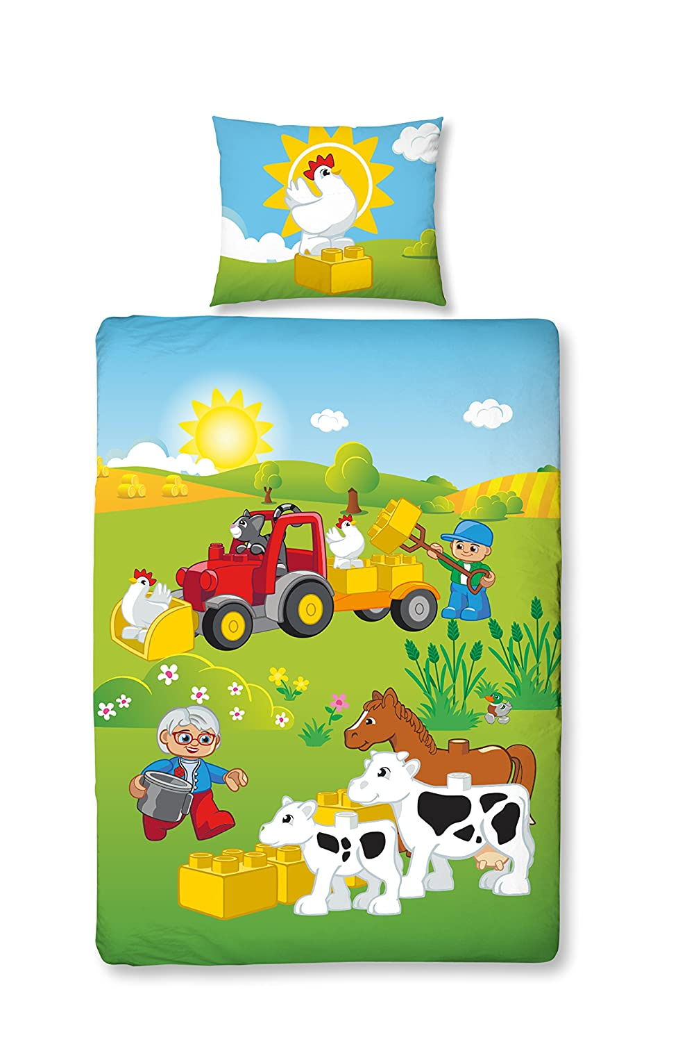 Girl's and Boy's, Baby's, Children's Little Farm LEGO Duplo Bed Linen - Farm Animals & Tractor with Reversible Design – Pack of 2 – 40 x 60cm Pillow Case  + 100 x 135cm Duvet Cover – 100% Cotton Girl's and Boy's Baby's MTOnlinehandel