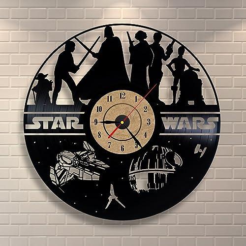 Vinyl Clock Black Clock Star Wars Design Bedroom Wall Decor