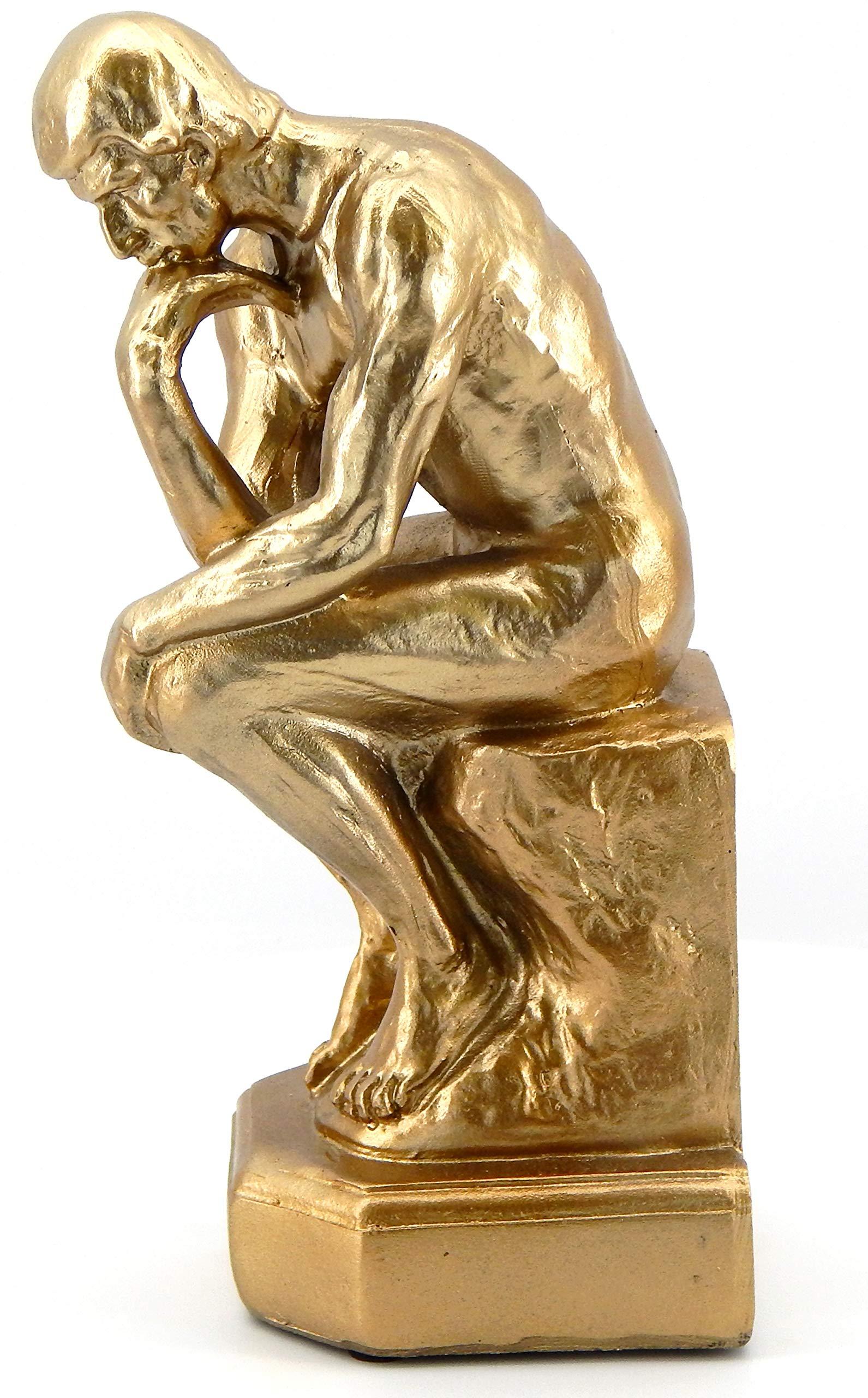 Bellaa 25587 Golden Robin The Thinker Statue Fine Art Sculpture Male 9 Inch high